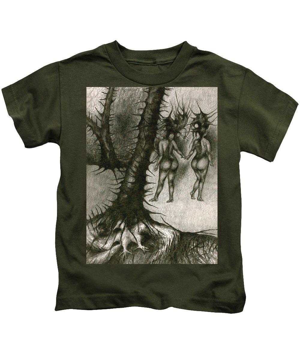 Joy Kids T-Shirt featuring the drawing In Concealment by Wojtek Kowalski