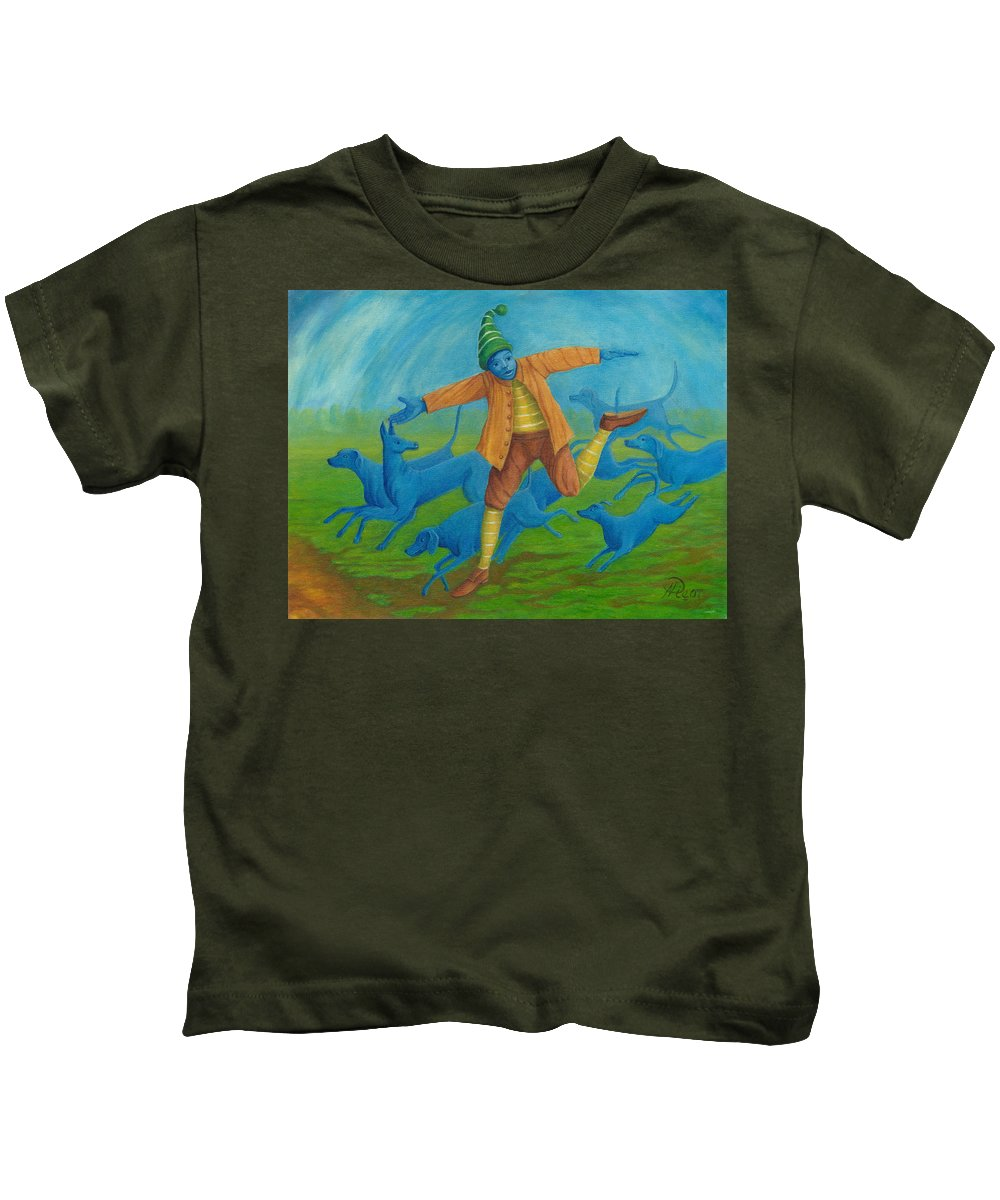 Painting Kids T-Shirt featuring the painting In Pursuit Of Anything. by Andrzej Pietal