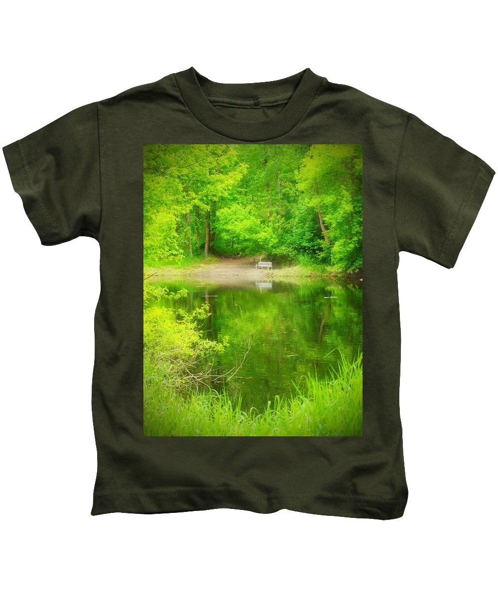 Bench Kids T-Shirt featuring the photograph In The Green by Tara Turner