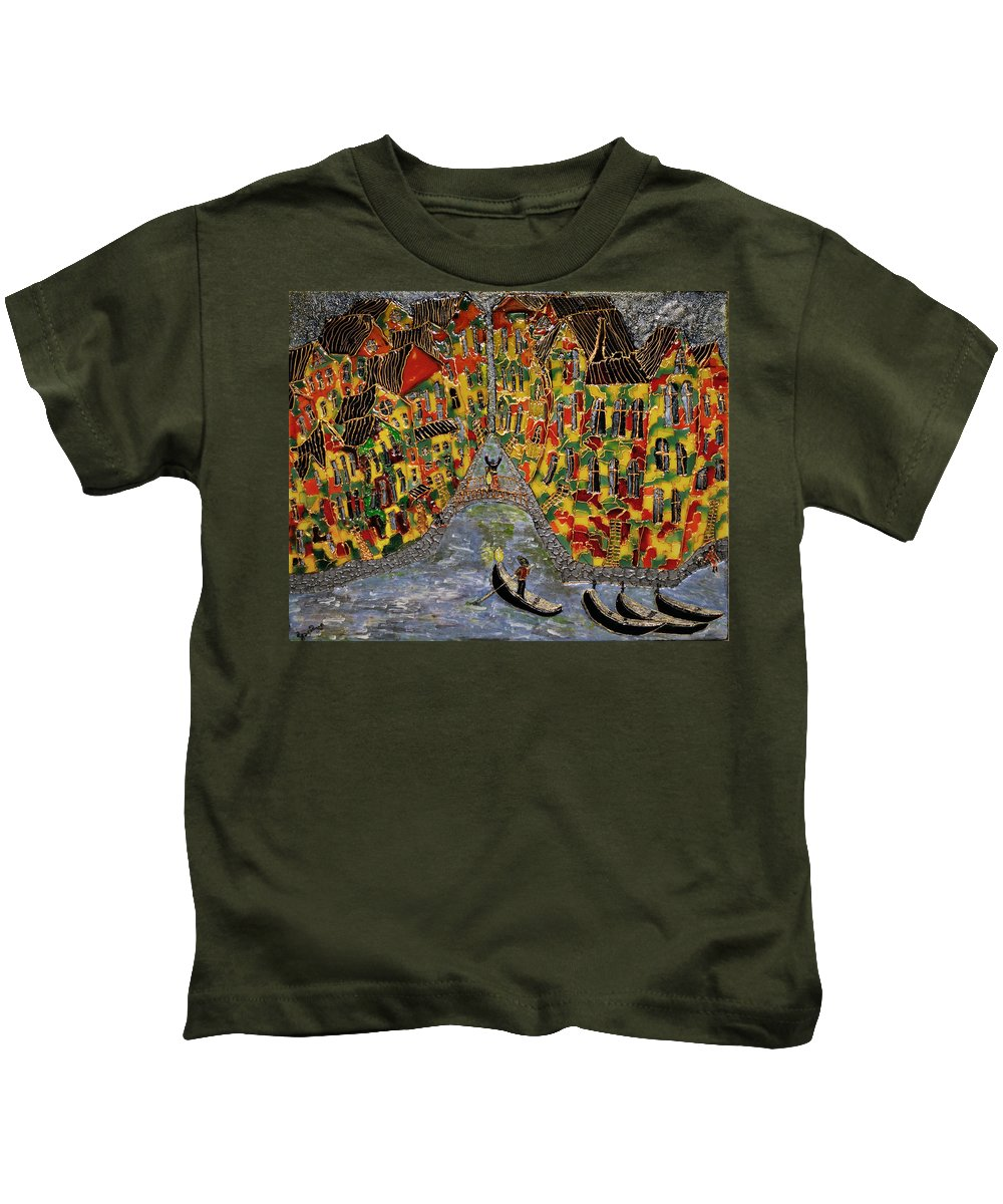 Venice Kids T-Shirt featuring the painting In The Light Of Shimmering Night In Venice by Maya Gavasheli