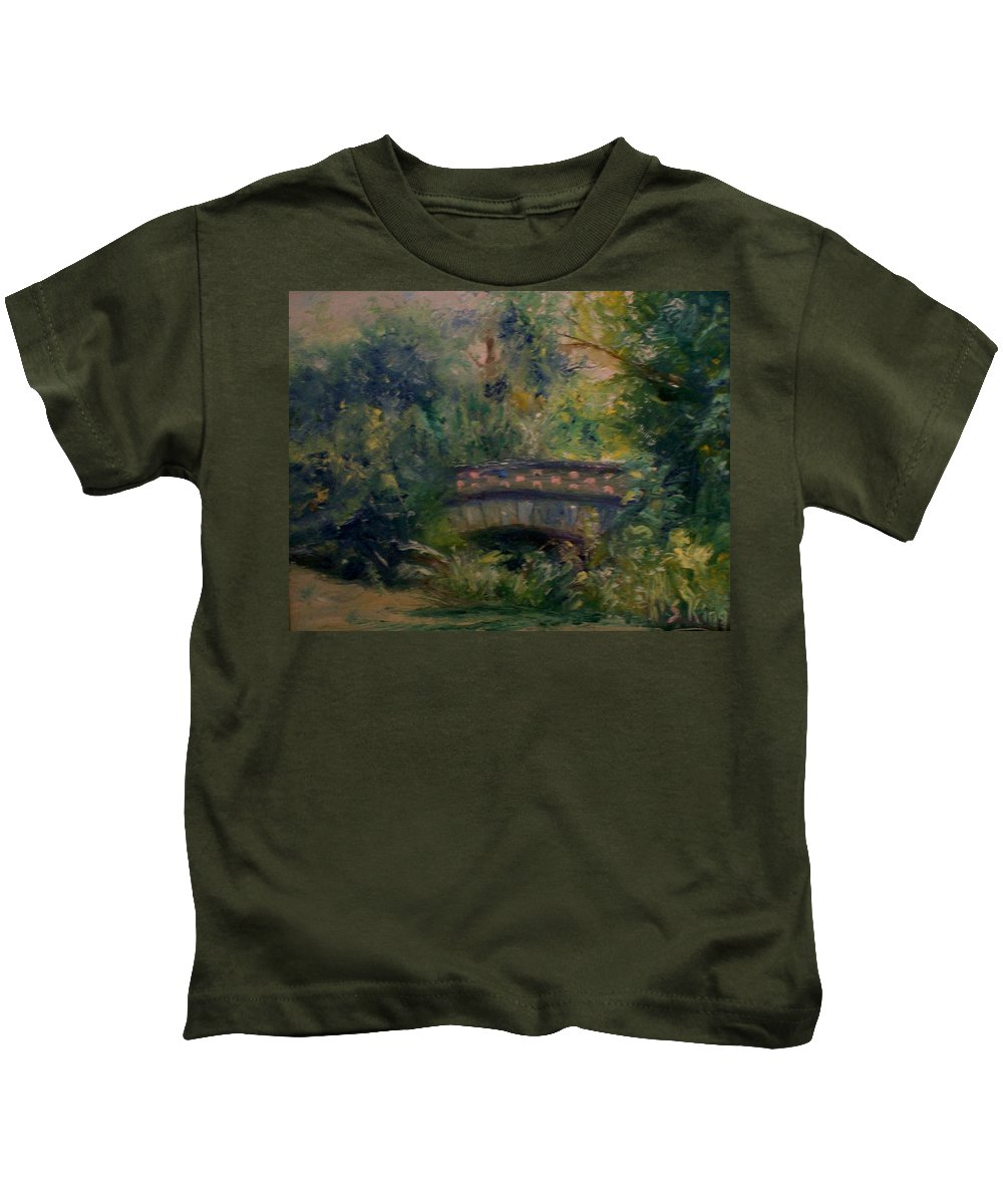 Landscape Kids T-Shirt featuring the painting In The Park by Stephen King