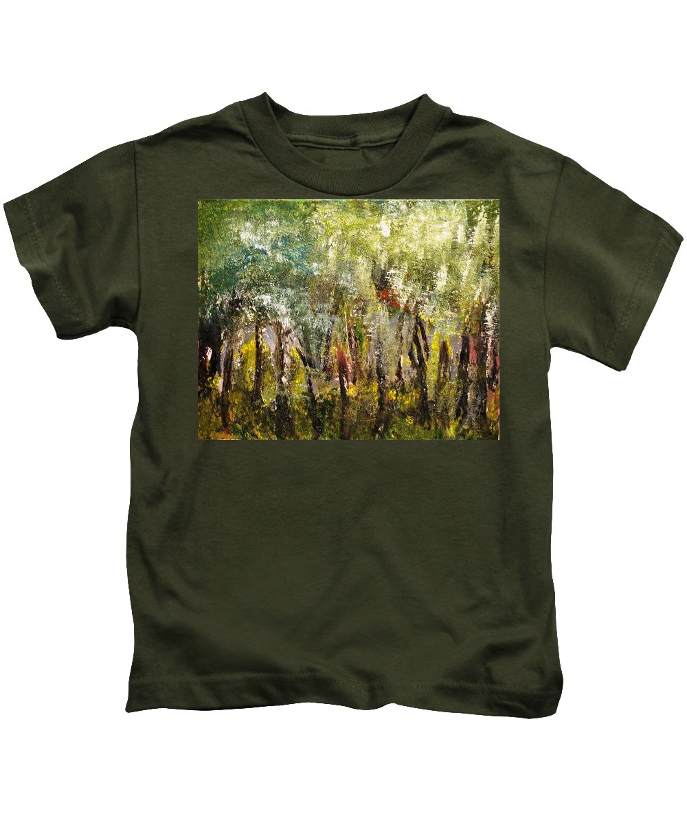 Trees Kids T-Shirt featuring the painting In The Woods by Evelina Popilian