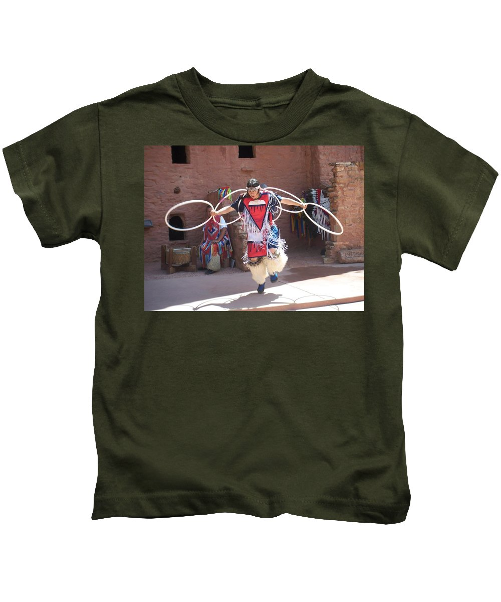 Indian Dancer Kids T-Shirt featuring the photograph Indian Hoop Dancer by Anita Burgermeister