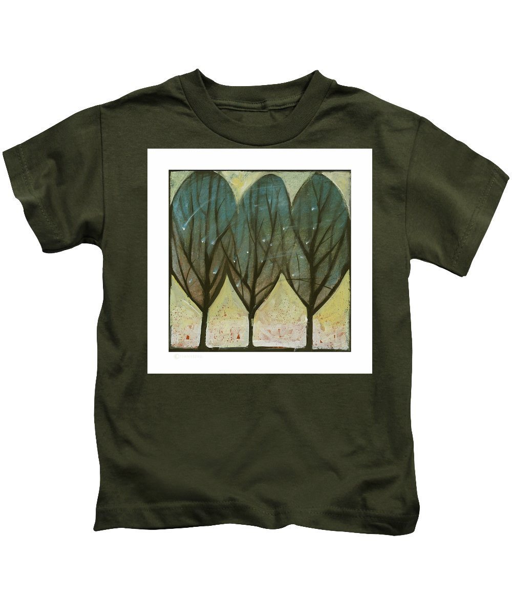 Trees Kids T-Shirt featuring the painting Indian Summer Snow by Tim Nyberg