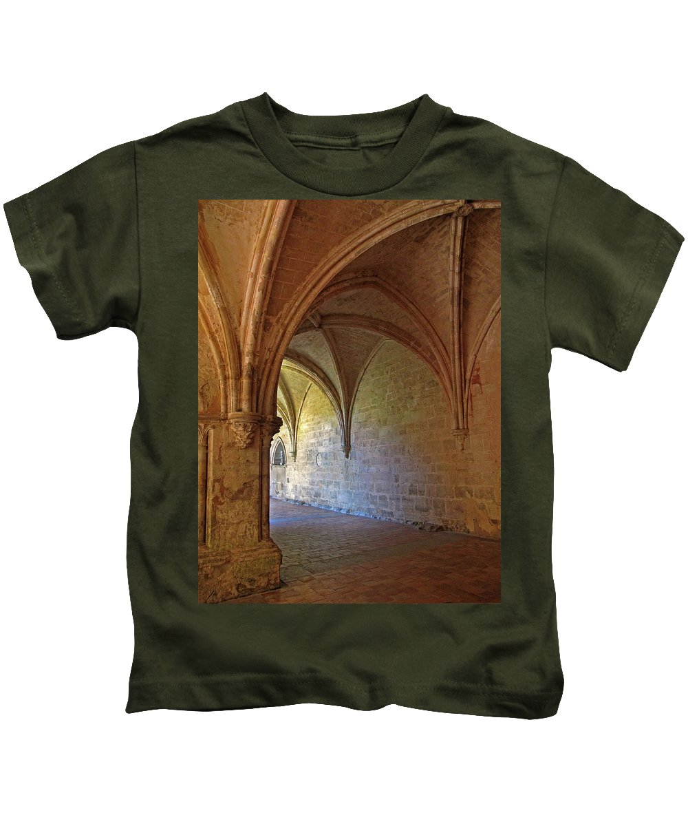 Monastery Kids T-Shirt featuring the photograph Inside A Monastery Dordogne France by Dave Mills