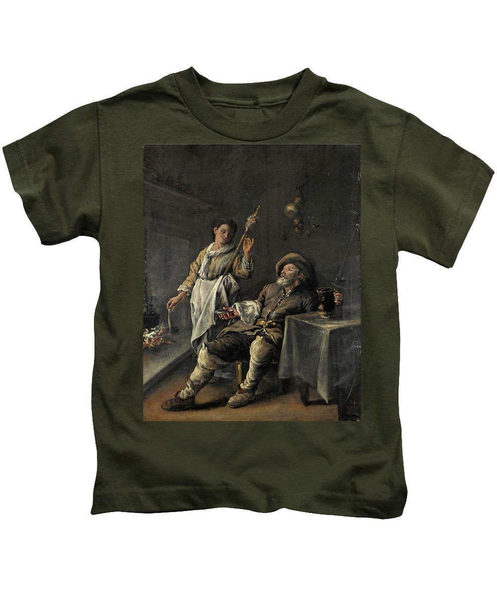 Domenico Guidobono Kids T-Shirt featuring the painting Interior Scene In Front Of A Fireplace by Domenico Guidobono