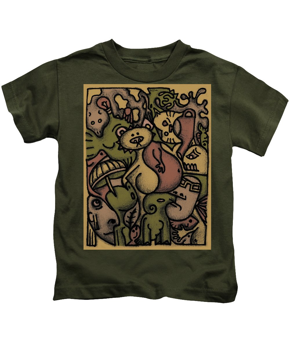 Kaki Kids T-Shirt featuring the digital art Interwhining1 by Kelly Jade King