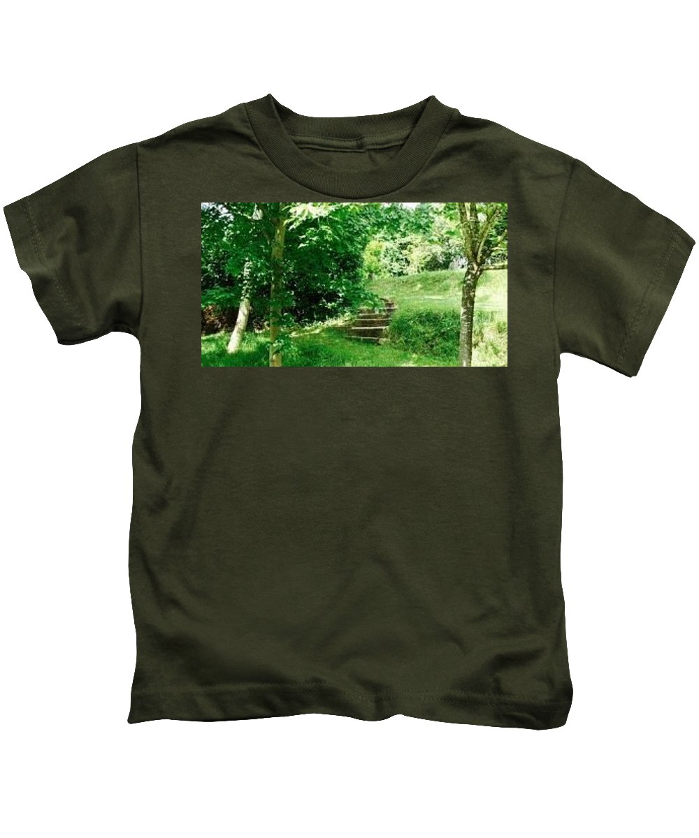 Photo Kids T-Shirt featuring the photograph Inviting Steps In Ireland by Kenlynn Schroeder