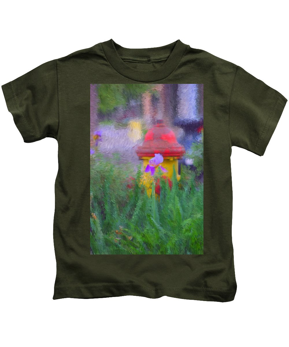 Digital Photo Kids T-Shirt featuring the photograph Iris And Fire Plug by David Lane