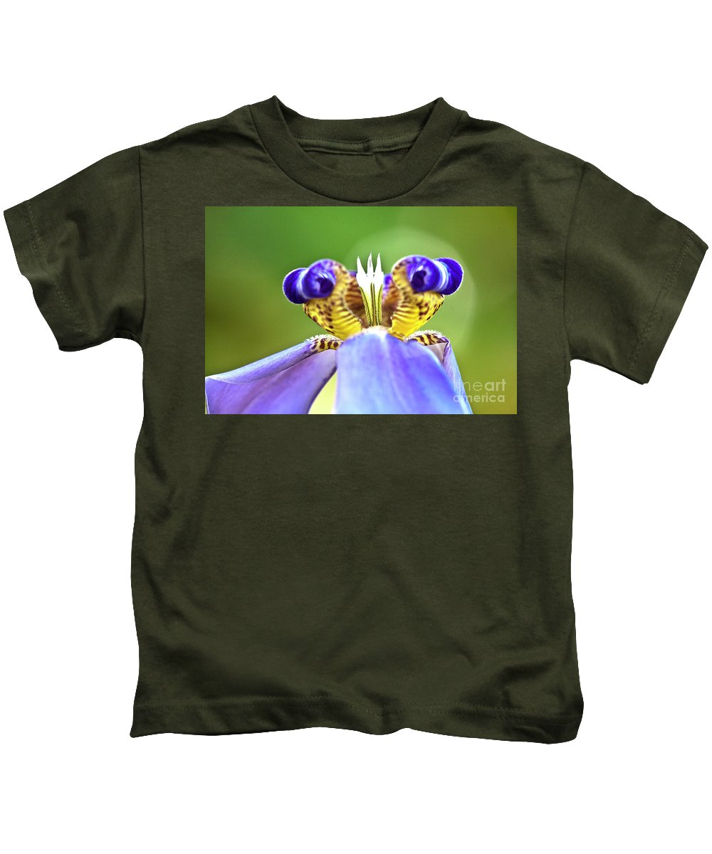 Macro Kids T-Shirt featuring the photograph Iris Flower by Heiko Koehrer-Wagner