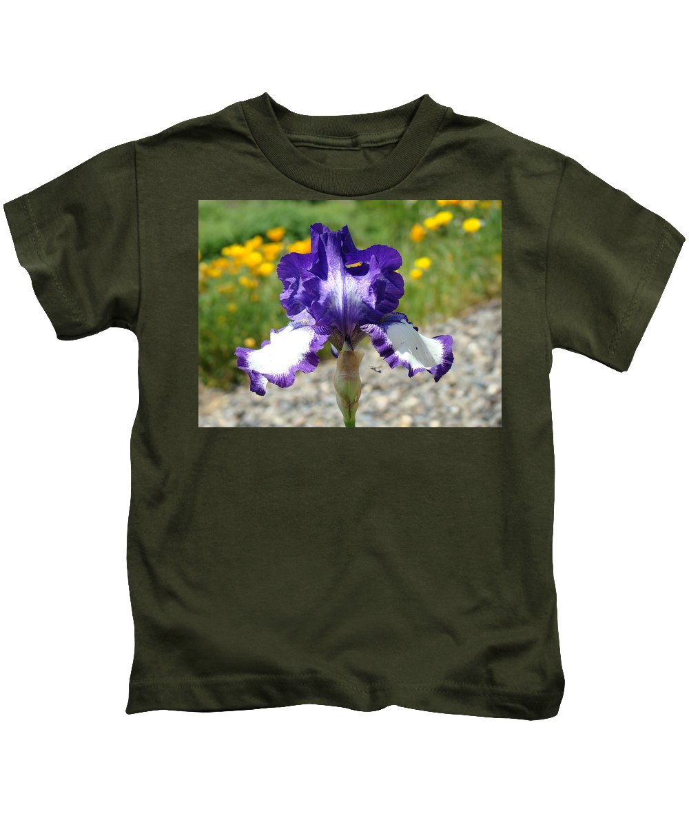 �irises Artwork� Kids T-Shirt featuring the photograph Iris Flower Purple White Irises Nature Landscape Giclee Art Prints Baslee Troutman by Baslee Troutman