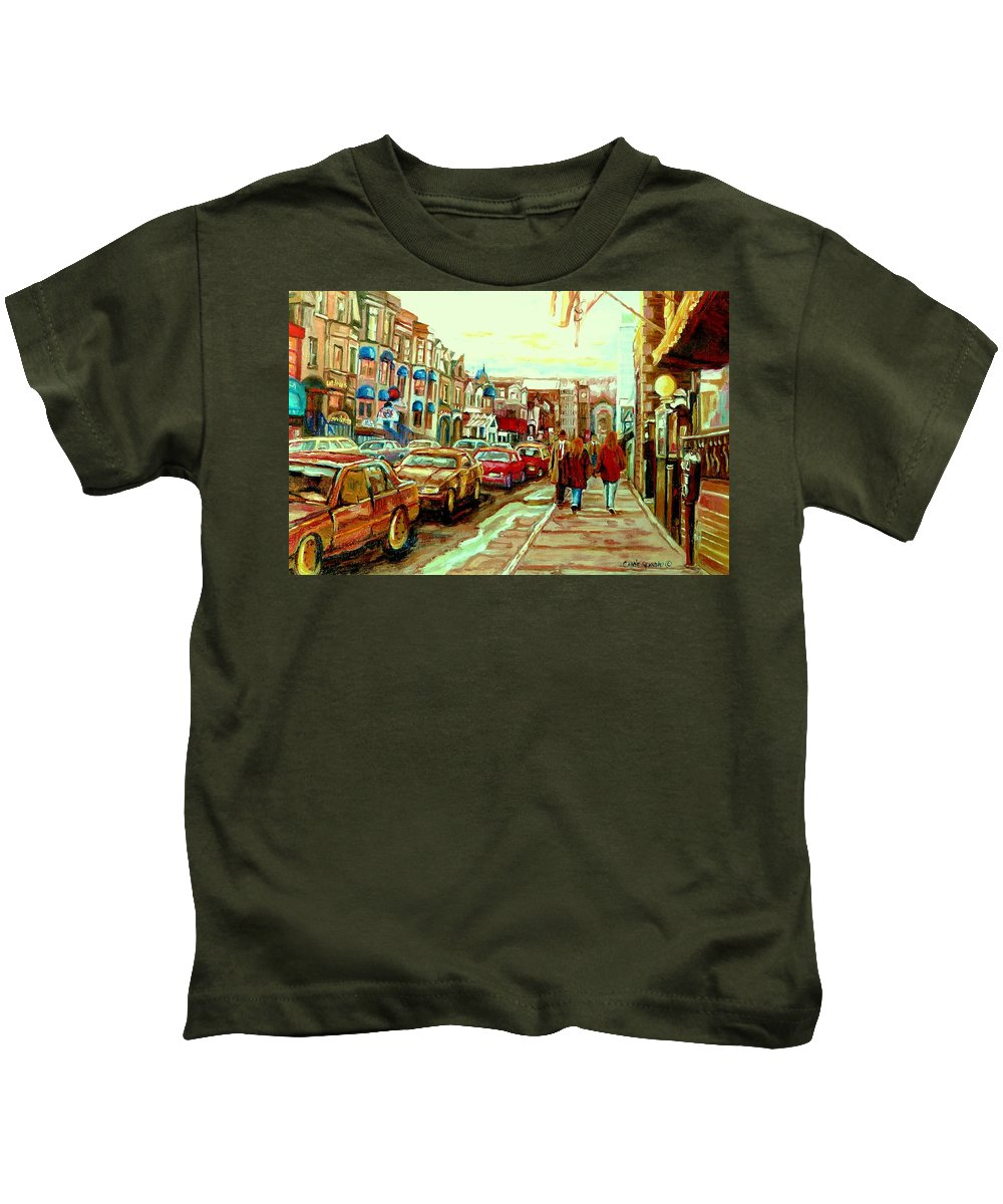 Irish Pubs And Bistros Downtown Montreal Kids T-Shirt featuring the painting Irish Pubs And Bistros Downtown Montreal by Carole Spandau