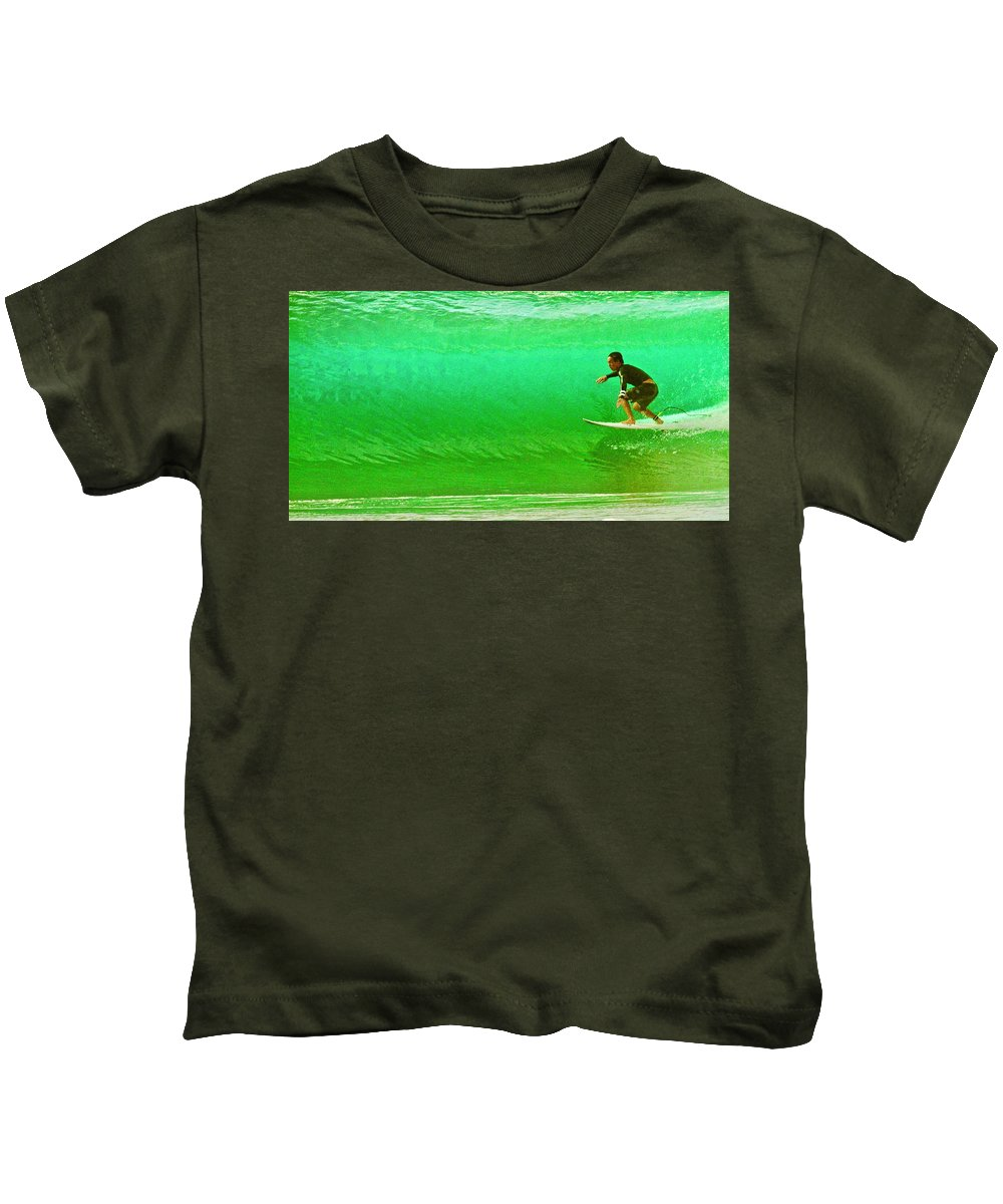 Surf Kids T-Shirt featuring the photograph It's Not Easy Being Green by Mike Judice