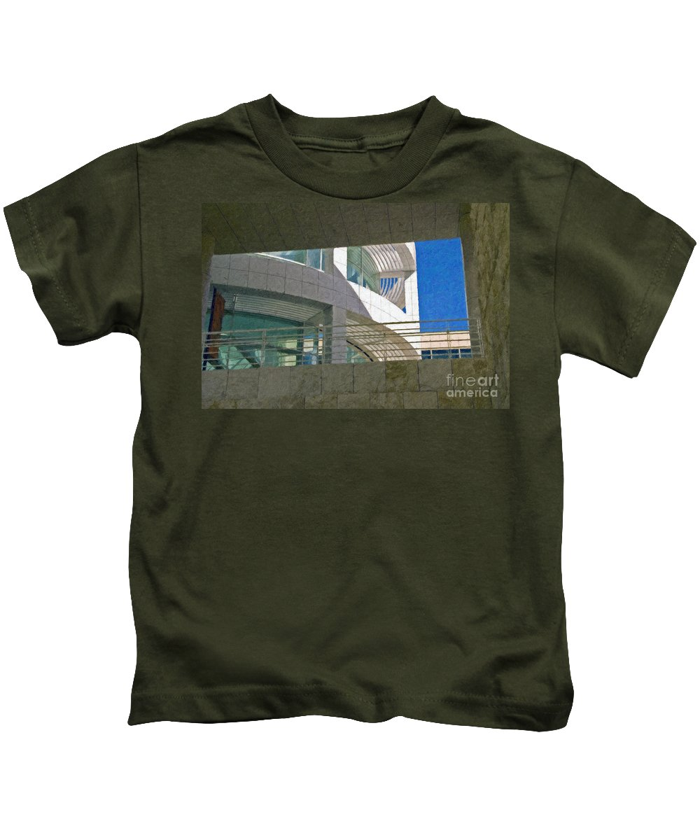 J. Paul Getty Museum Los Angeles Ca Administration Building Abstract View Kids T-Shirt featuring the photograph J. Paul Getty Museum Abstract View by David Zanzinger