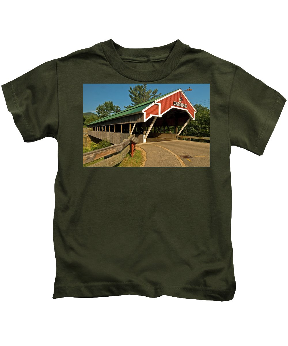covered Bridge Kids T-Shirt featuring the photograph Jackson Bridge by Paul Mangold