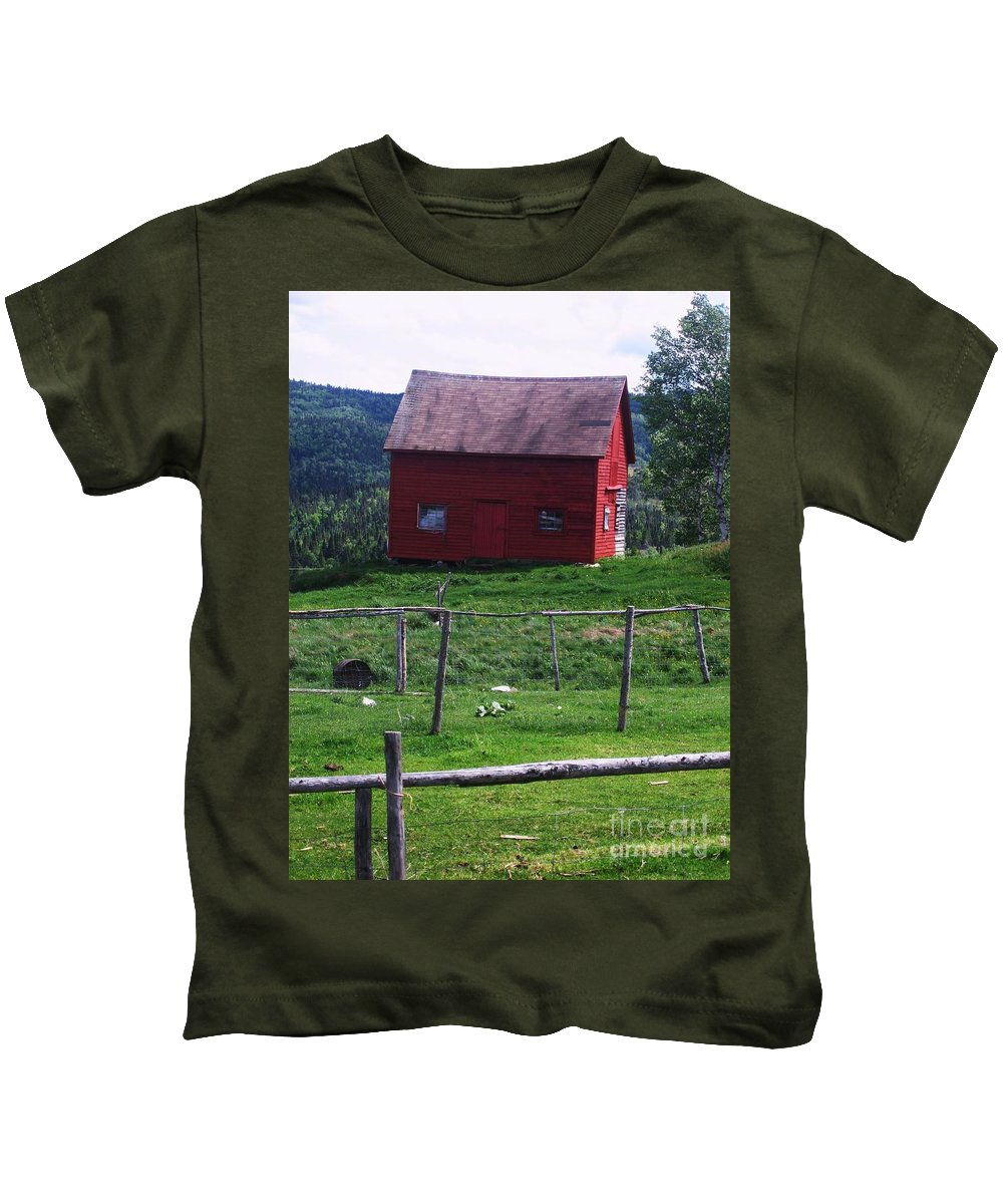 Photograph Newfoundland Jackson Cove Boat Grass Kids T-Shirt featuring the photograph Jackson's Cove by Seon-Jeong Kim