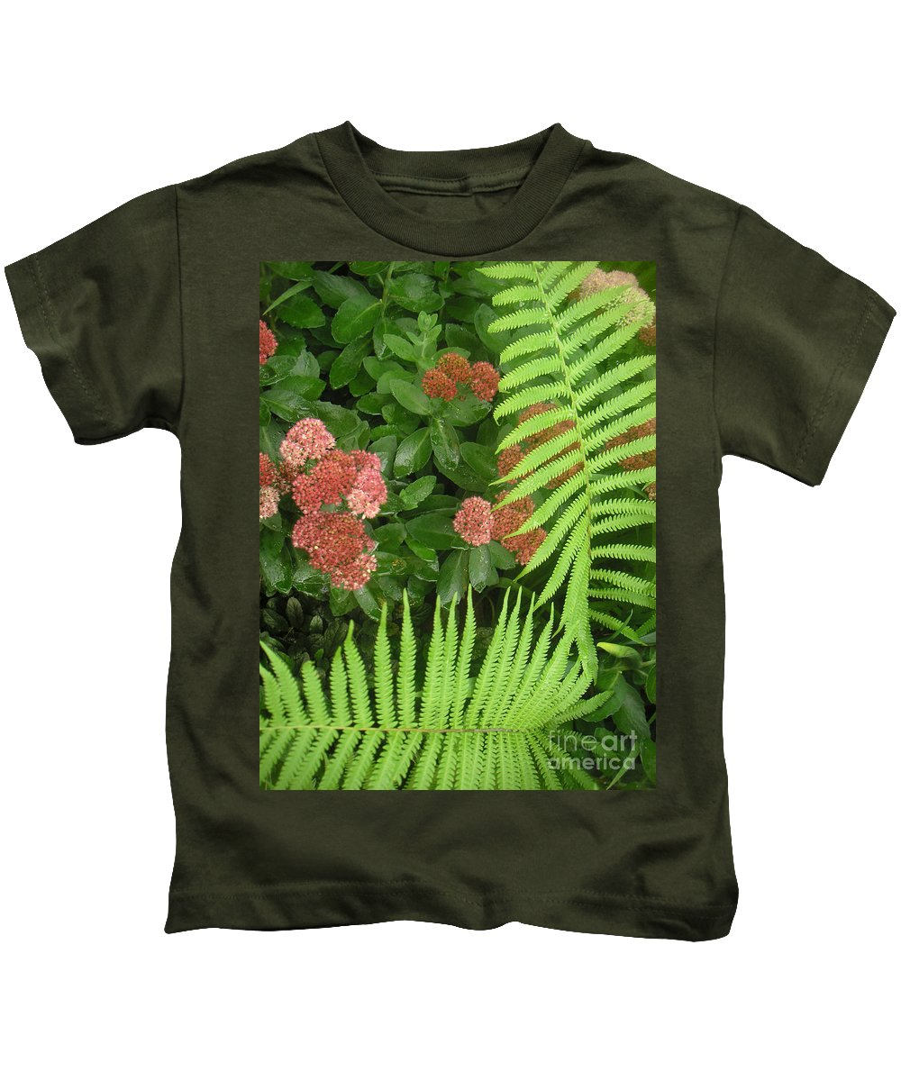 Nature Kids T-Shirt featuring the photograph Jacqueline's Garden - Camaraderie Of Textures Too by Lucyna A M Green