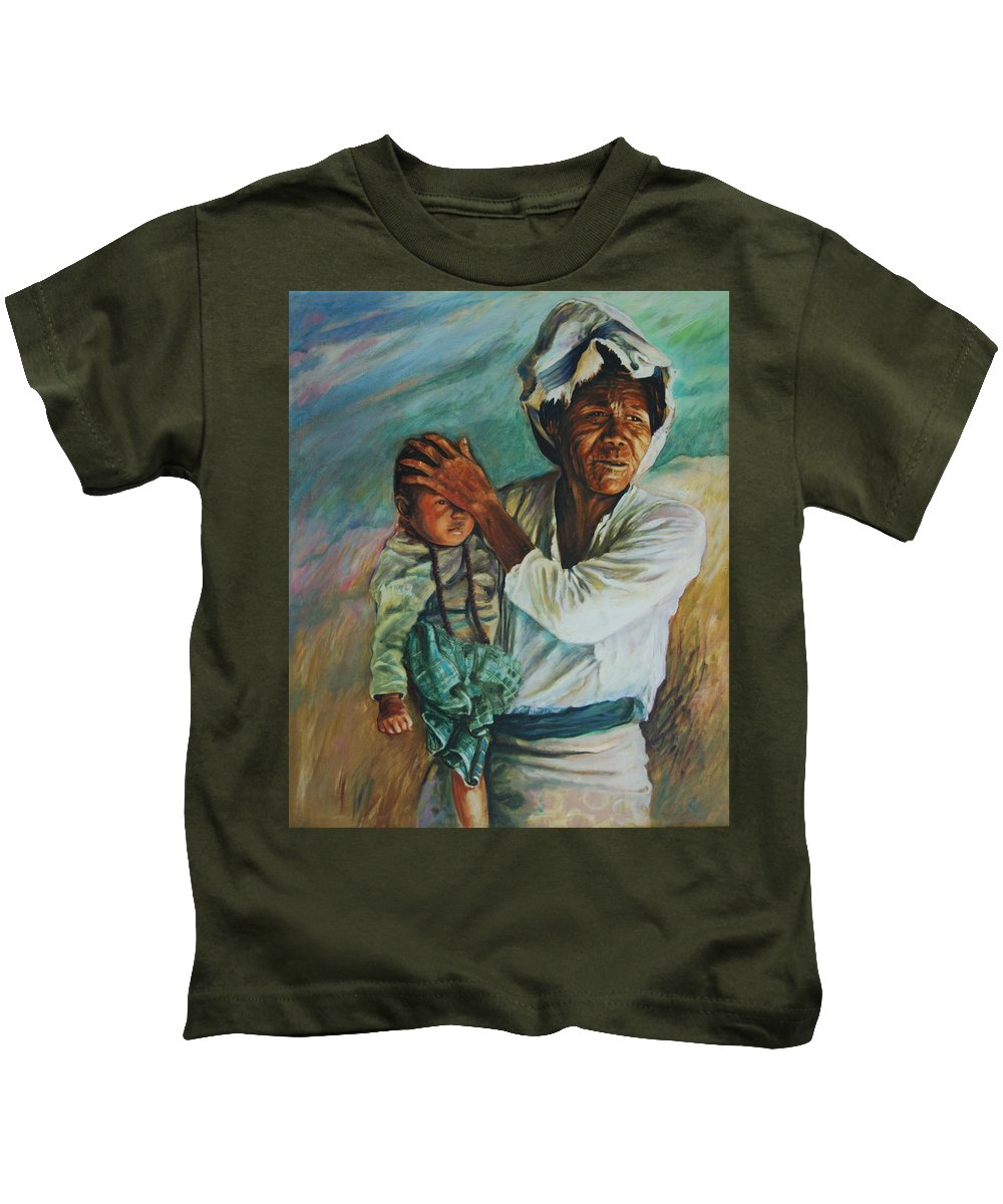 Woman Kids T-Shirt featuring the painting Javanese Woman by Rick Nederlof