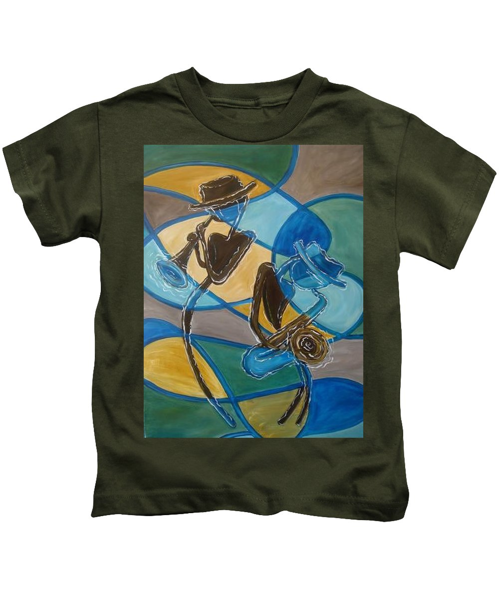 Jazz Kids T-Shirt featuring the painting Jazz Raz by Regina Walsh