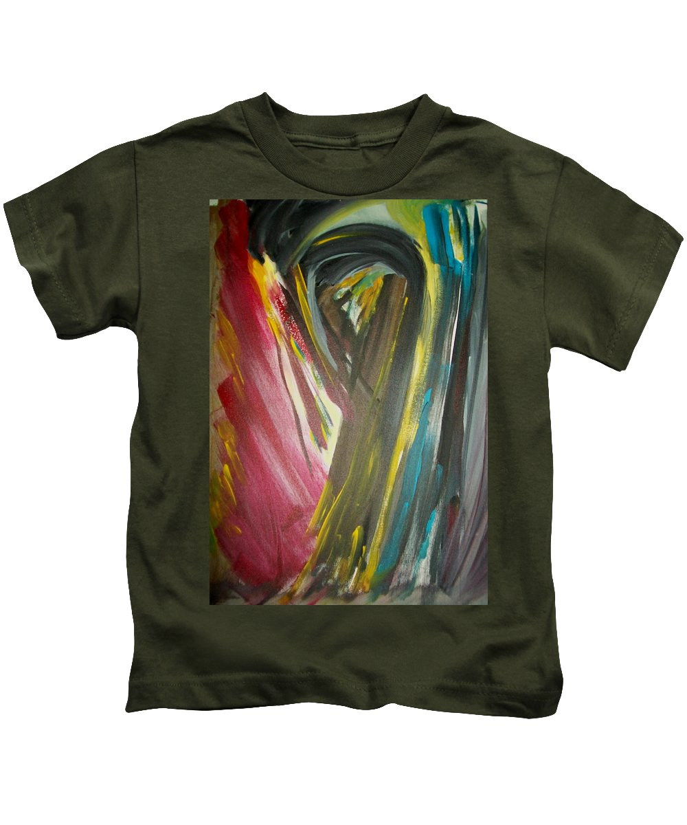 Black Kids T-Shirt featuring the painting Jennifer by Laurette Escobar