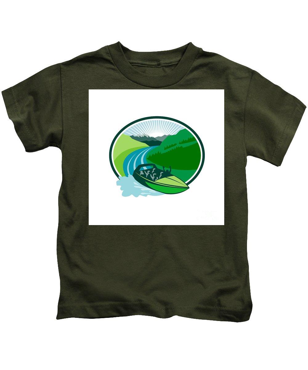 Jetboat Kids T-Shirt featuring the digital art Jetboat River Canyon Mountain Oval Retro by Aloysius Patrimonio