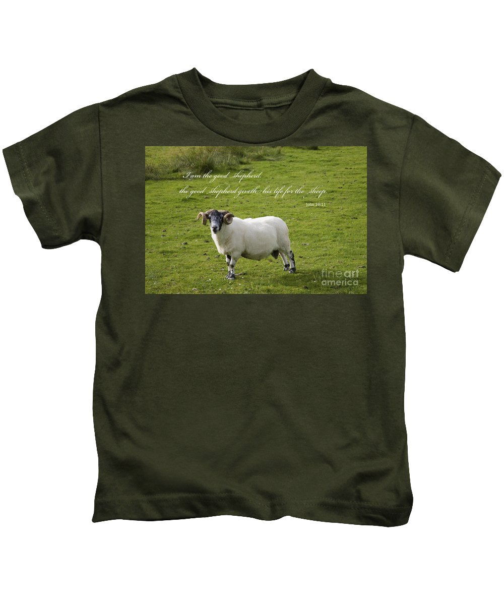 Agriculture Kids T-Shirt featuring the photograph John 10v11 by Diane Macdonald