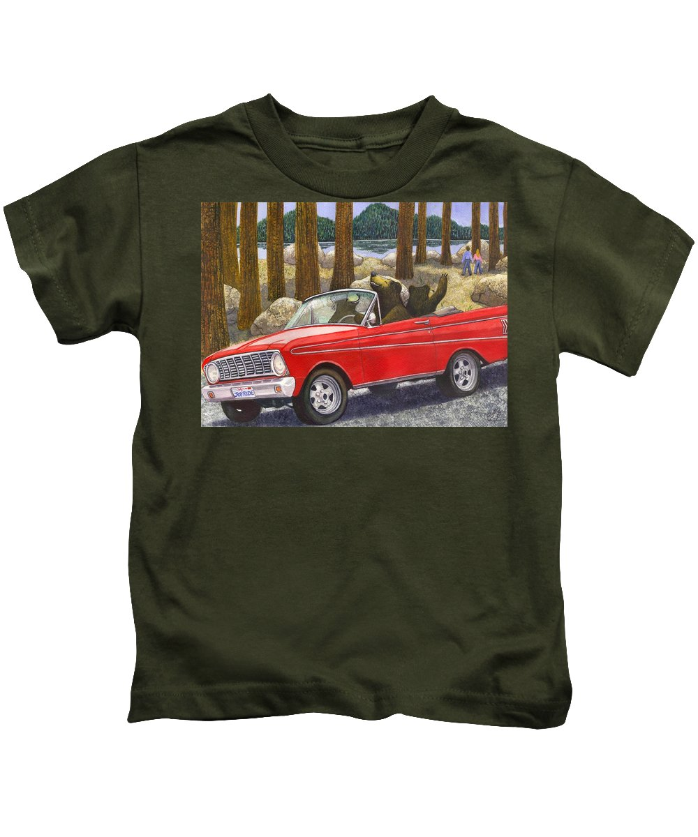 Bears Kids T-Shirt featuring the painting Joy Ride by Catherine G McElroy