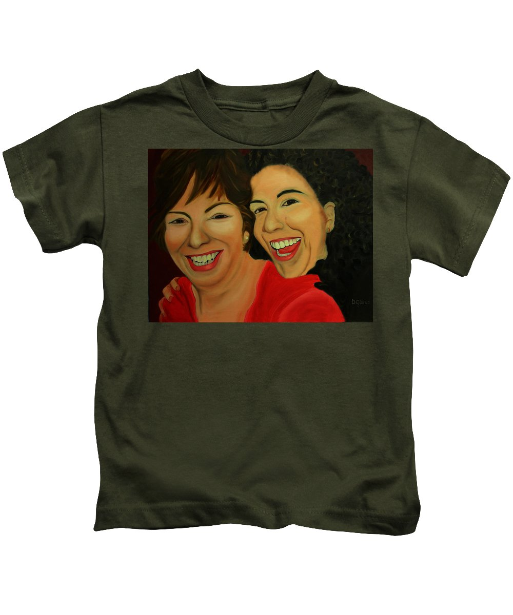Glorso Kids T-Shirt featuring the painting Joyce And Gina by Dean Glorso