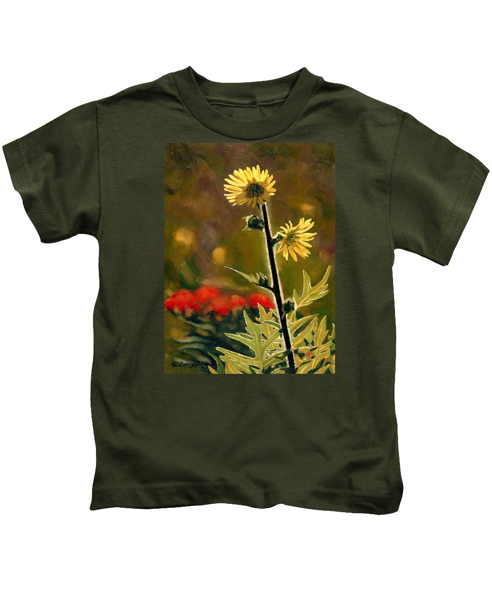 Prairie Flowers Kids T-Shirt featuring the painting July Afternoon-compass Plant by Bruce Morrison
