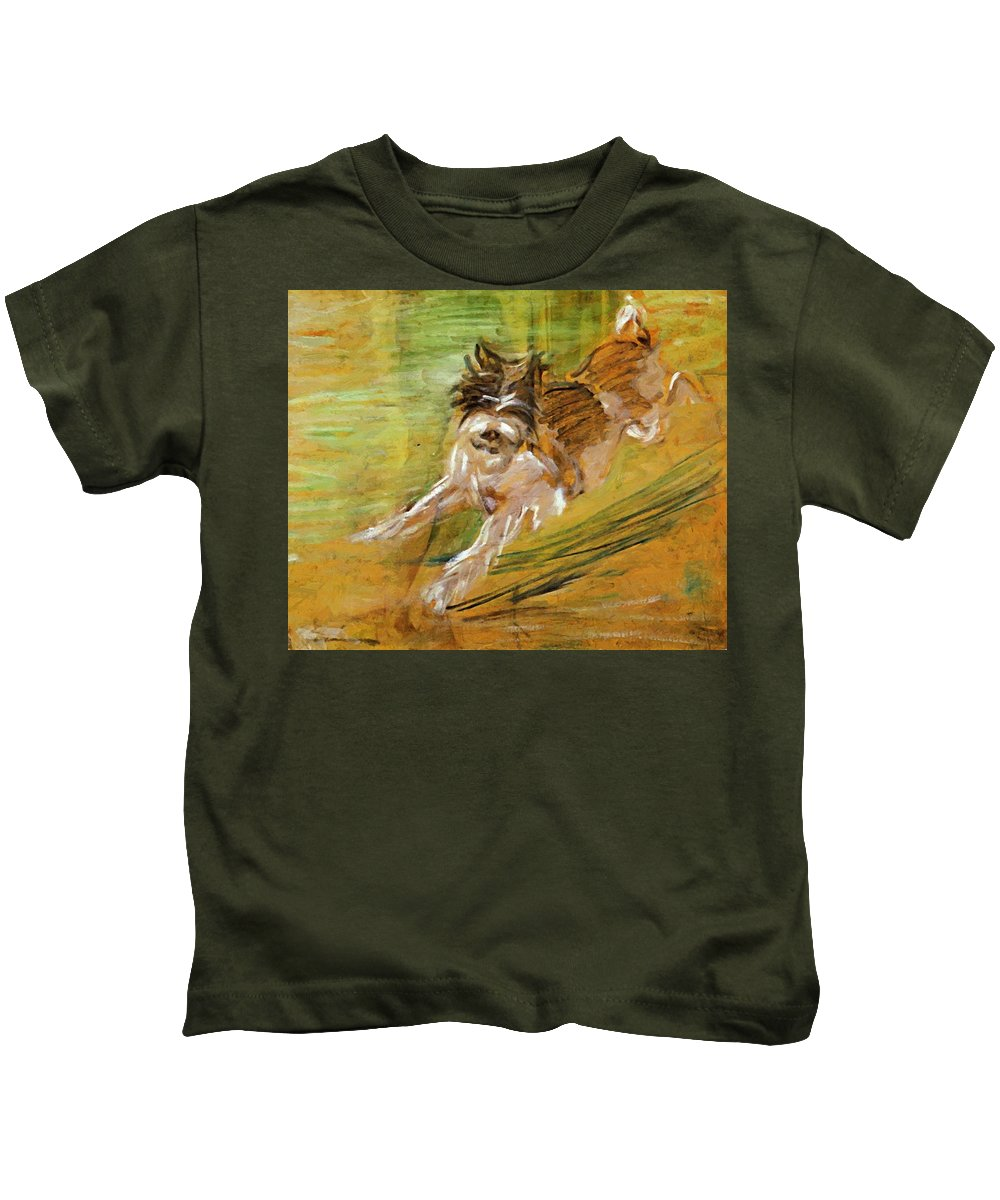 Jumping Kids T-Shirt featuring the painting Jumping Dog Schlick 1908 by Marc Franz