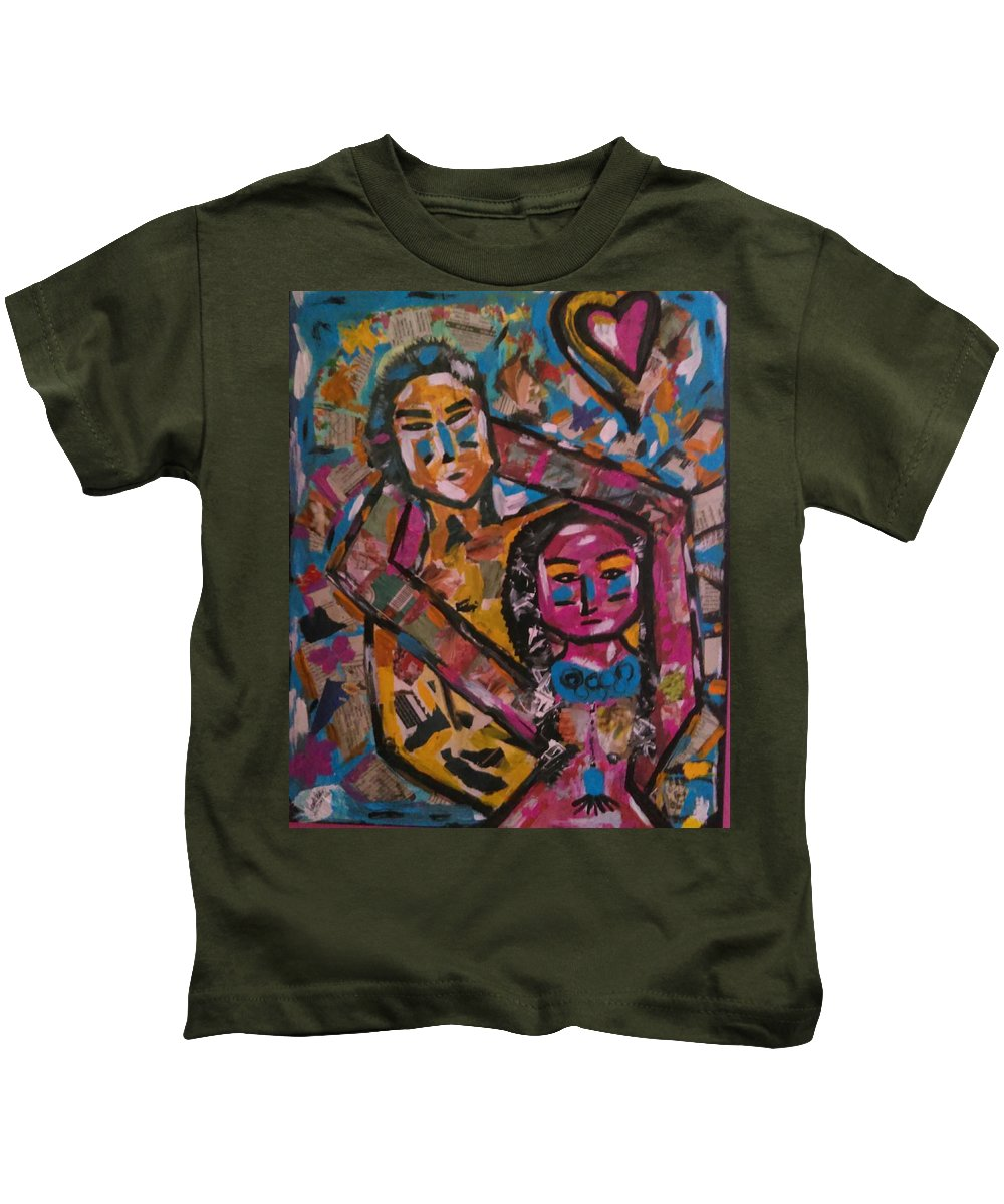 Abstract Art Kids T-Shirt featuring the painting Juntos Para Siempre by Camille Emblem