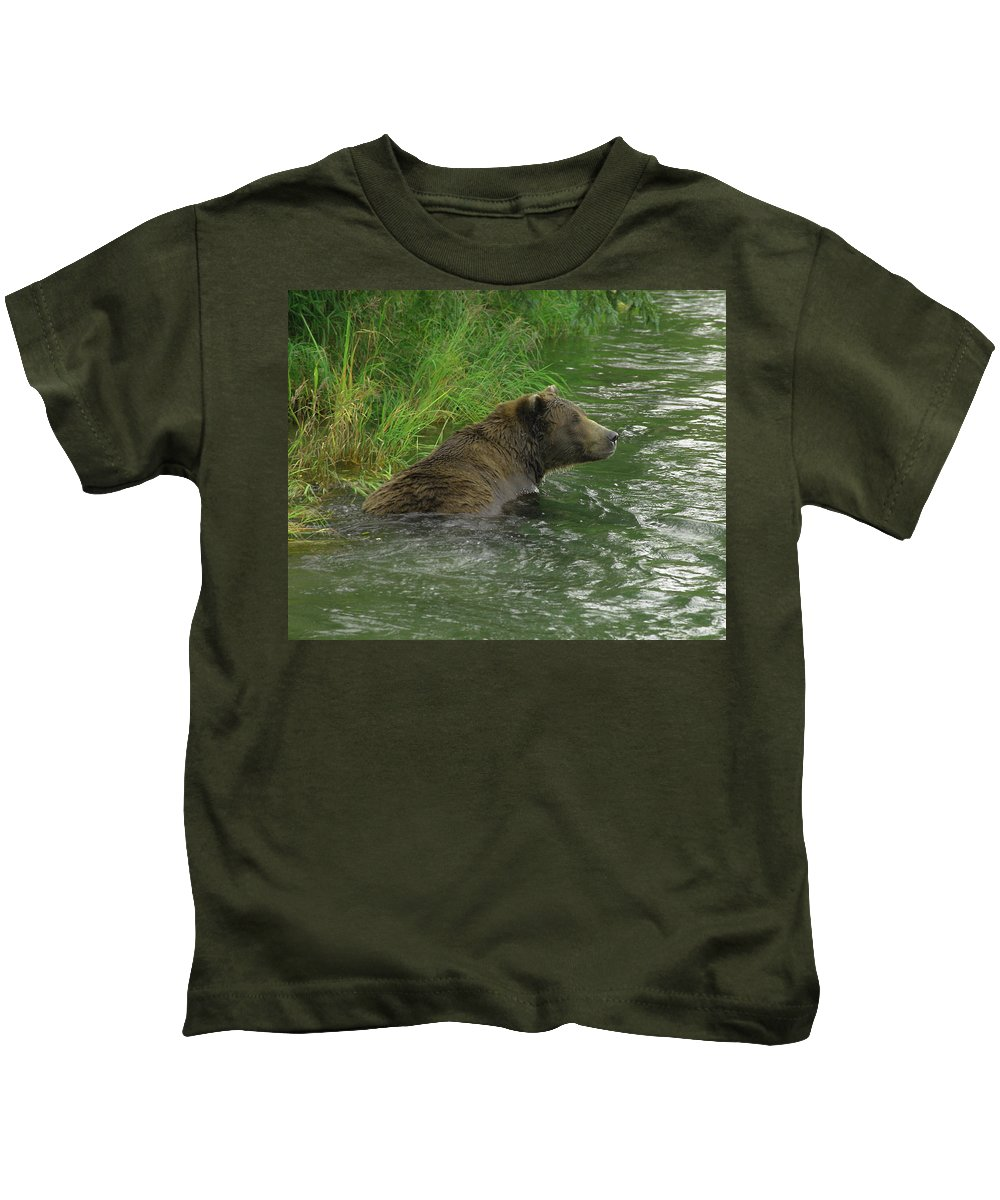 Grizzly Kids T-Shirt featuring the photograph Just A Swim Alaskan Grizzly by Herbert L Fields Jr
