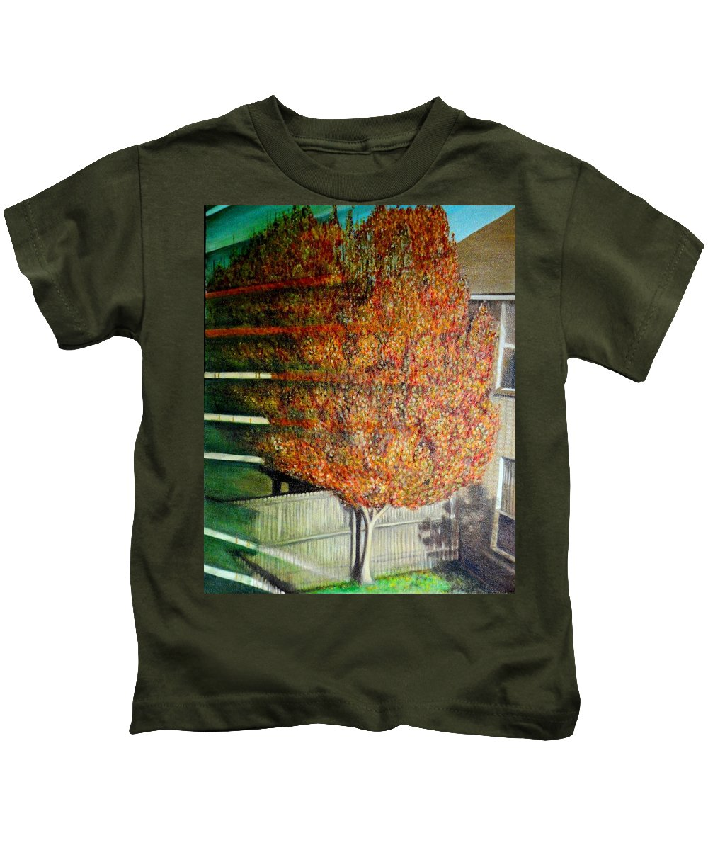 Fall Kids T-Shirt featuring the painting Just Before Fall by Usha Shantharam