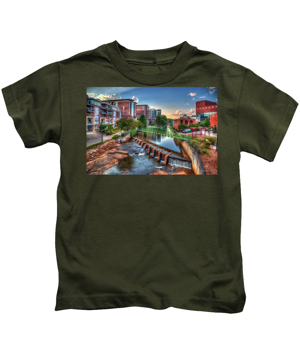 Reid Callaway The Main Attraction Kids T-Shirt featuring the photograph Just Before Sunset 2 Reedy River Falls Park Greenville South Carolina Art by Reid Callaway