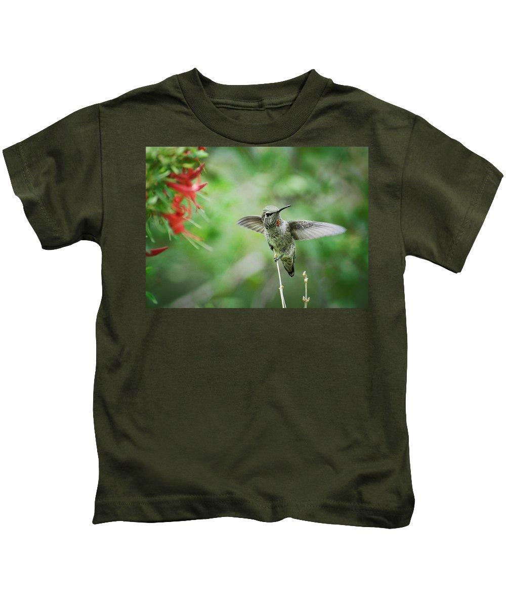 Hummingbird Kids T-Shirt featuring the photograph Just Hummin' Along by Saija Lehtonen