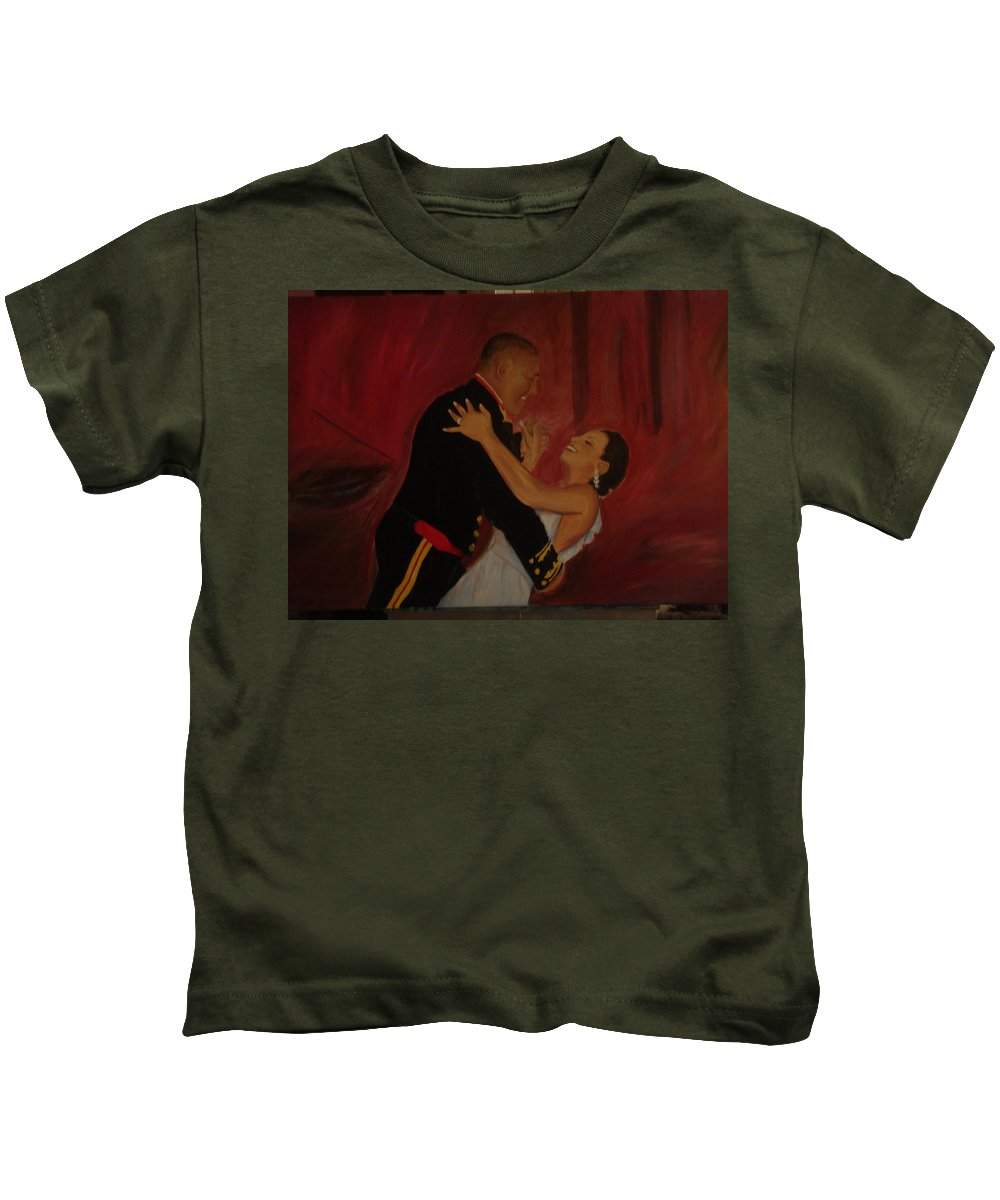 Marine Kids T-Shirt featuring the painting Just Married by Regina Walsh