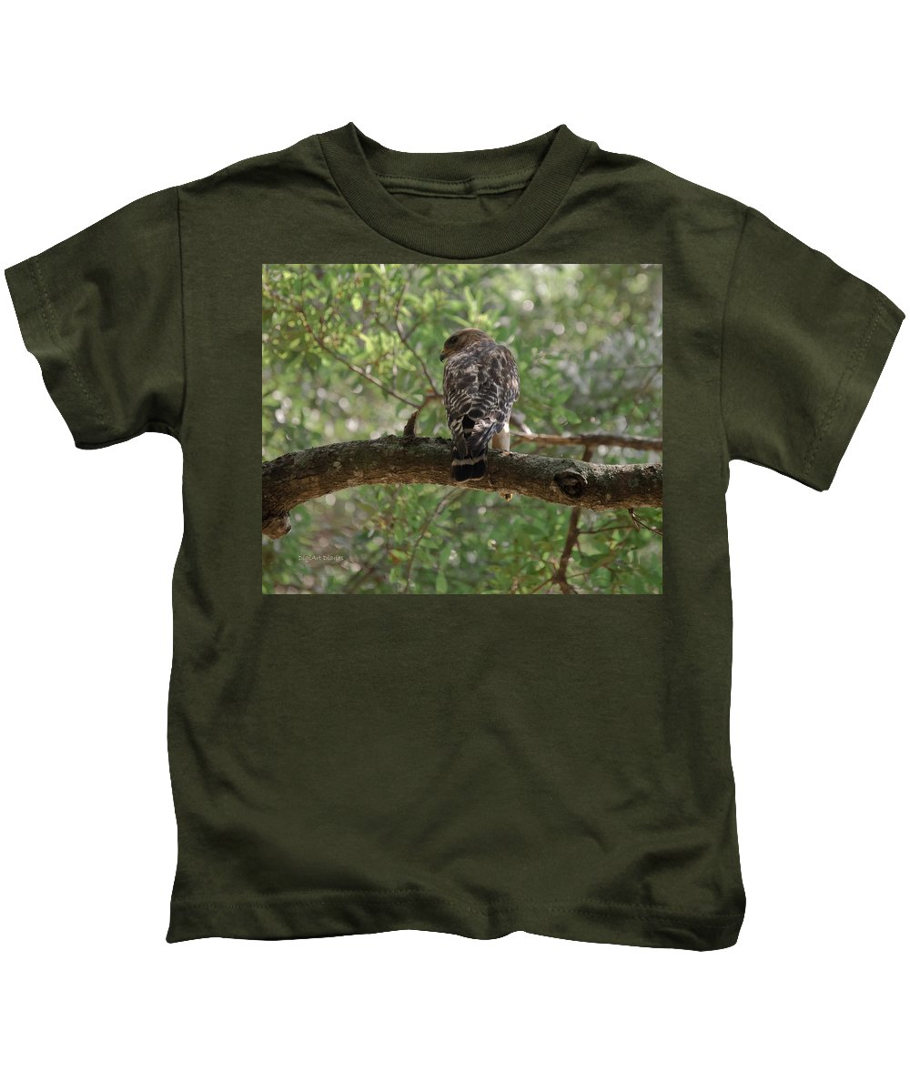 Hawk Kids T-Shirt featuring the photograph Just Ready To Attack by DigiArt Diaries by Vicky B Fuller