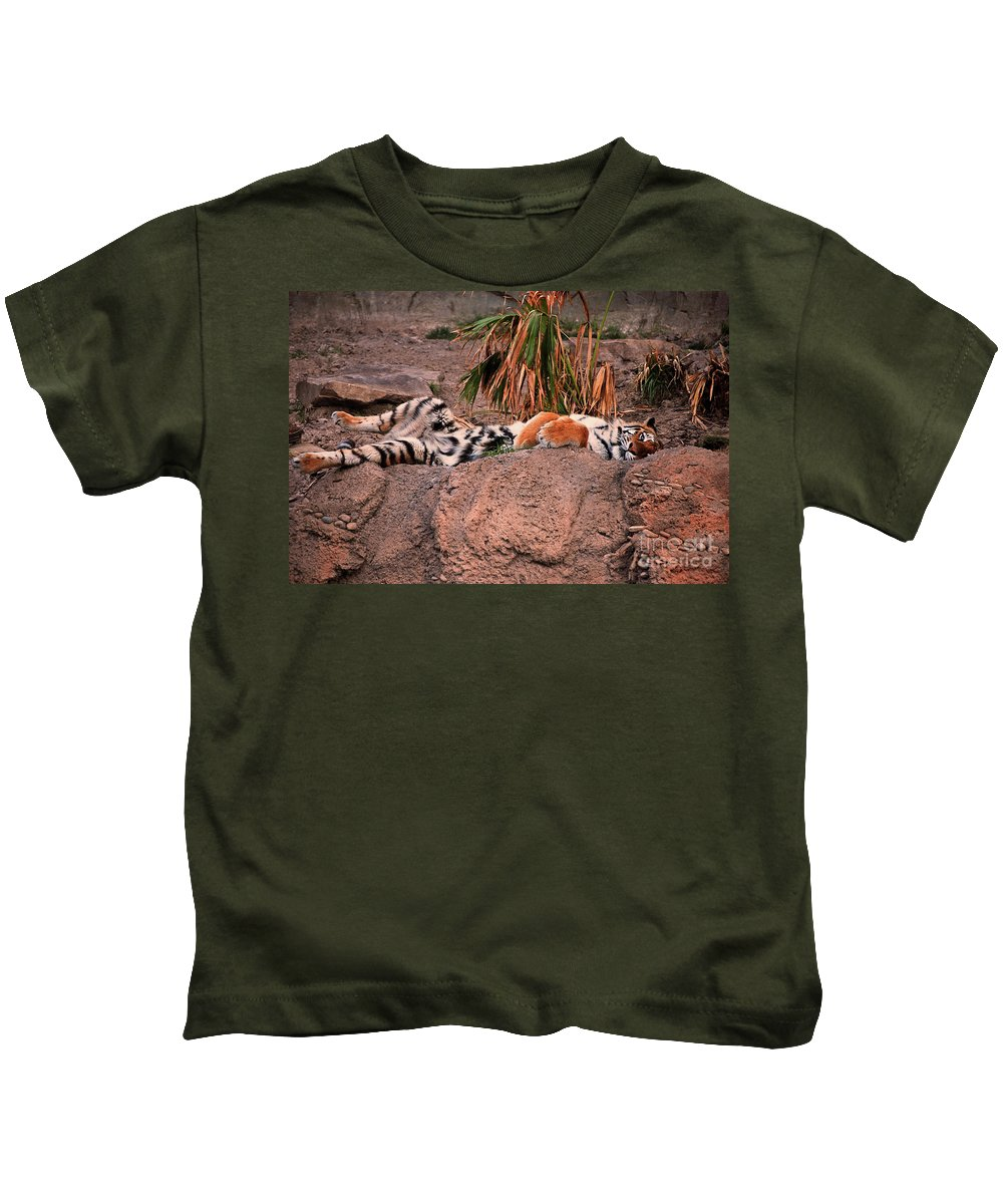 Bengal Tiger Kids T-Shirt featuring the photograph Just Relax by Robert Meanor