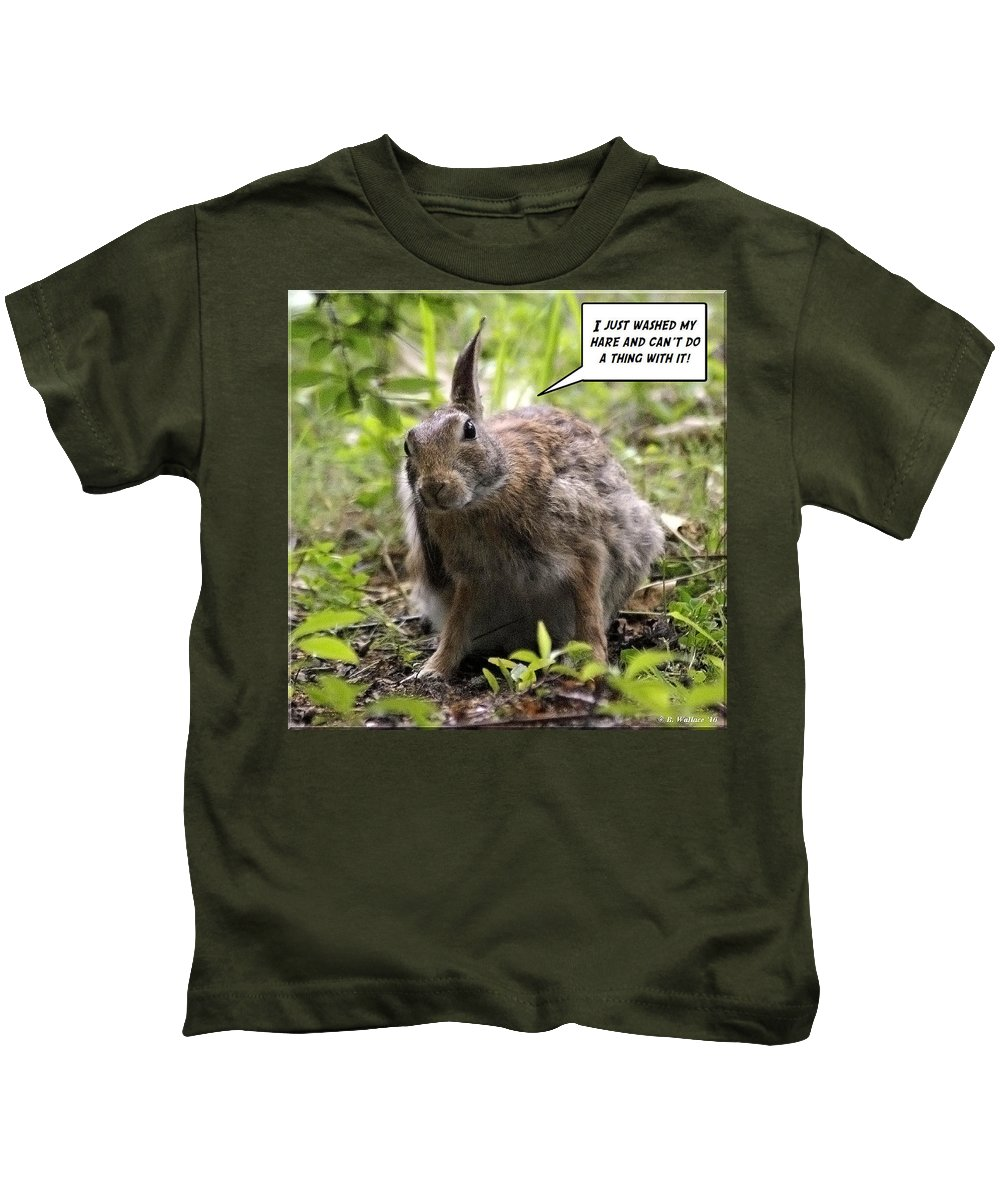2d Kids T-Shirt featuring the photograph Just Washed My Hare by Brian Wallace
