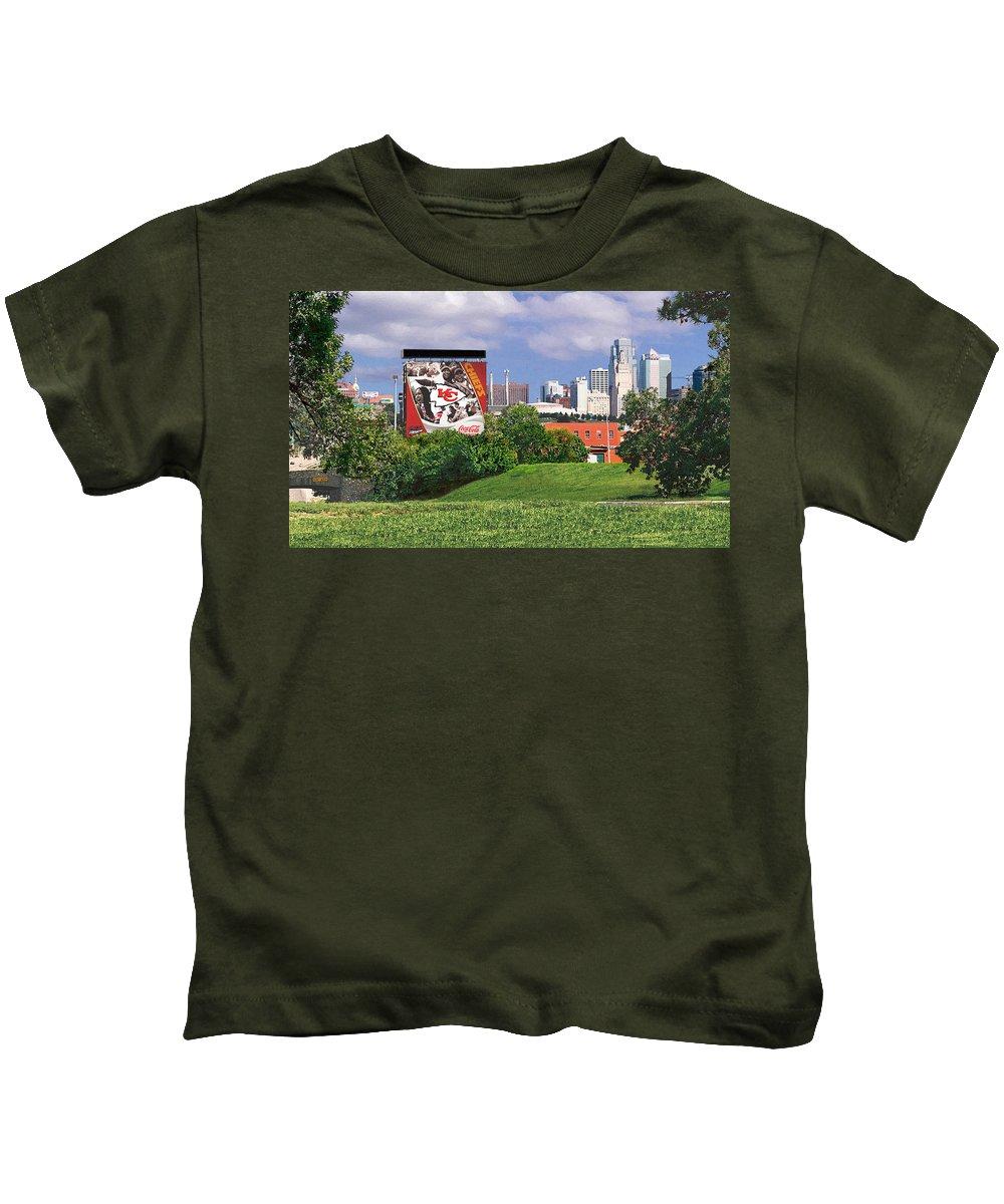 Landscape Kids T-Shirt featuring the photograph Kansas City Sky Line by Steve Karol