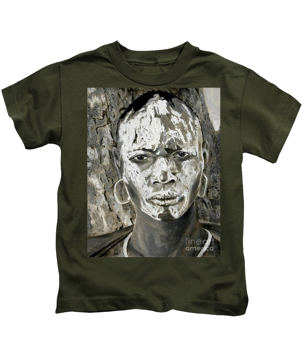 Tribal Art Kids T-Shirt featuring the painting Karo Man by Portraits By NC