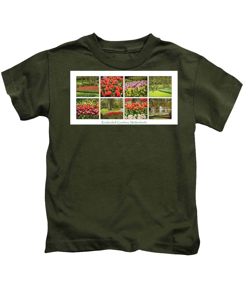 Keukenhof Kids T-Shirt featuring the photograph Keukenhof Garden Collage by Jon Berghoff