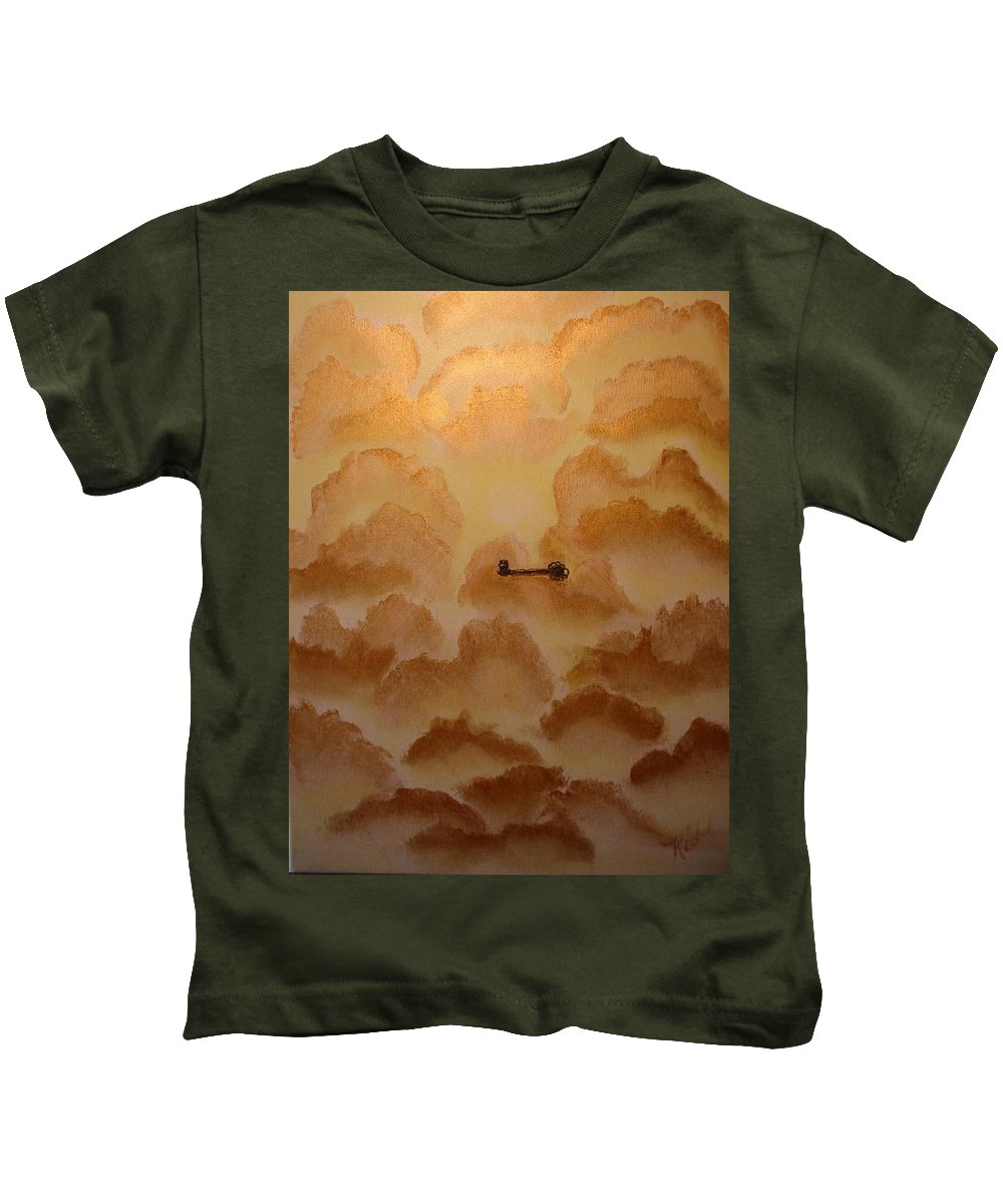Gold Kids T-Shirt featuring the painting Keys To The Kingdom by Laurie Kidd