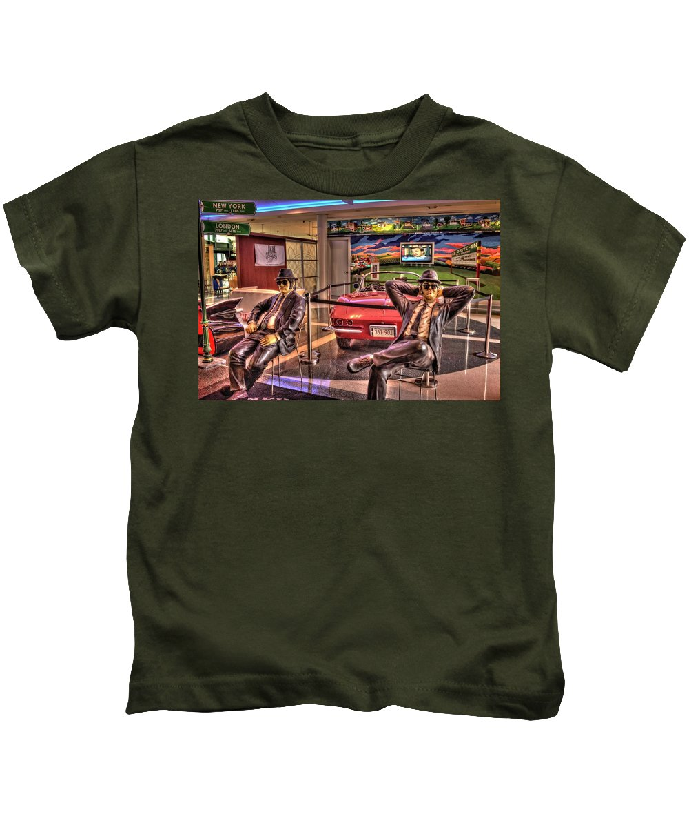 Joliet Kids T-Shirt featuring the photograph Kickin' Beck On Route 66 by Fred Hahn