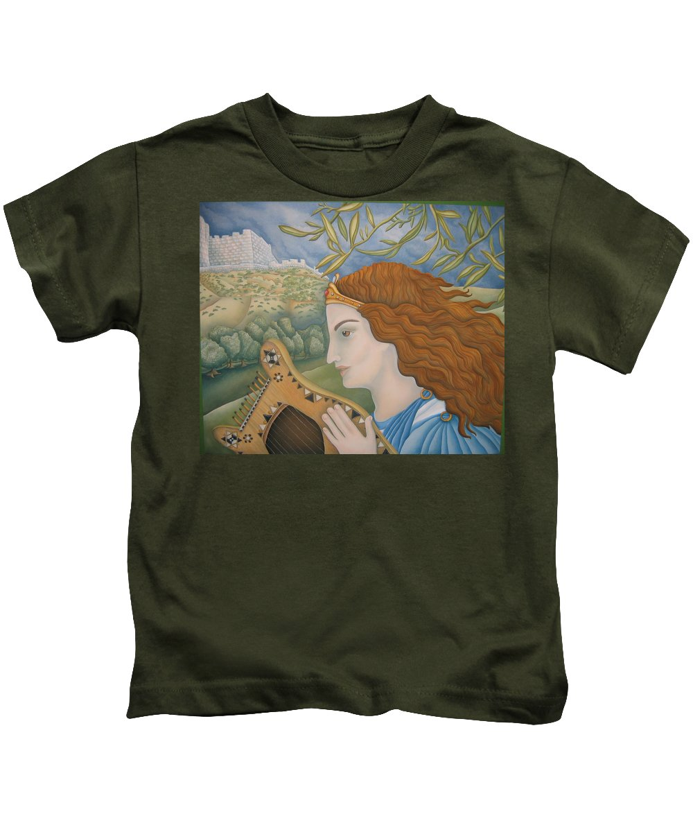 Bible Kids T-Shirt featuring the painting King David In His Youth by Jeniffer Stapher-Thomas