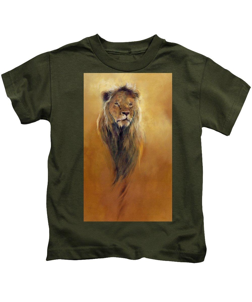 Animal; Furry; Lion; Wild Animal; Predator: King: Leo Kids T-Shirt featuring the painting King Leo by Odile Kidd