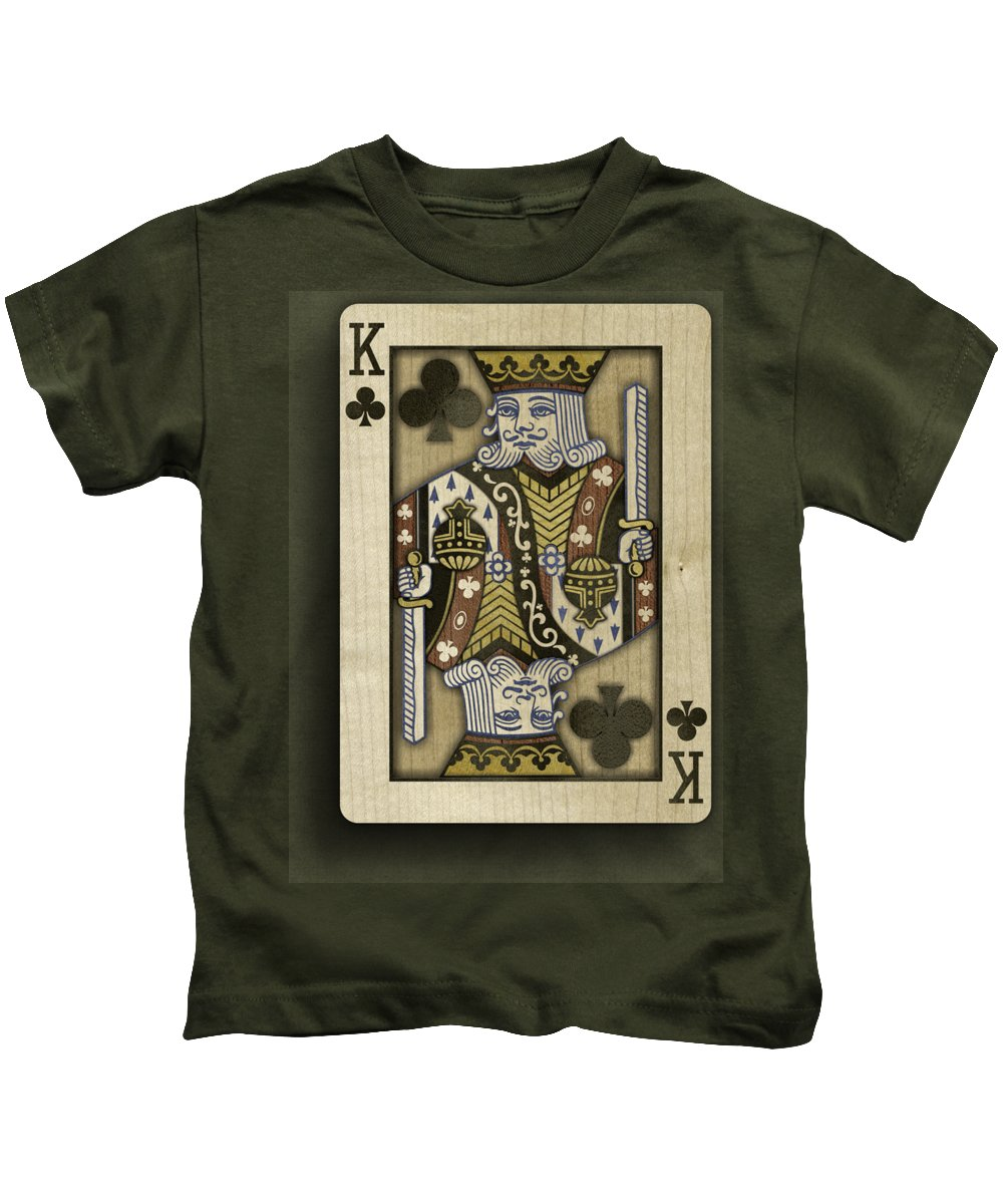 Game Kids T-Shirt featuring the photograph King Of Clubs In Wood by YoPedro