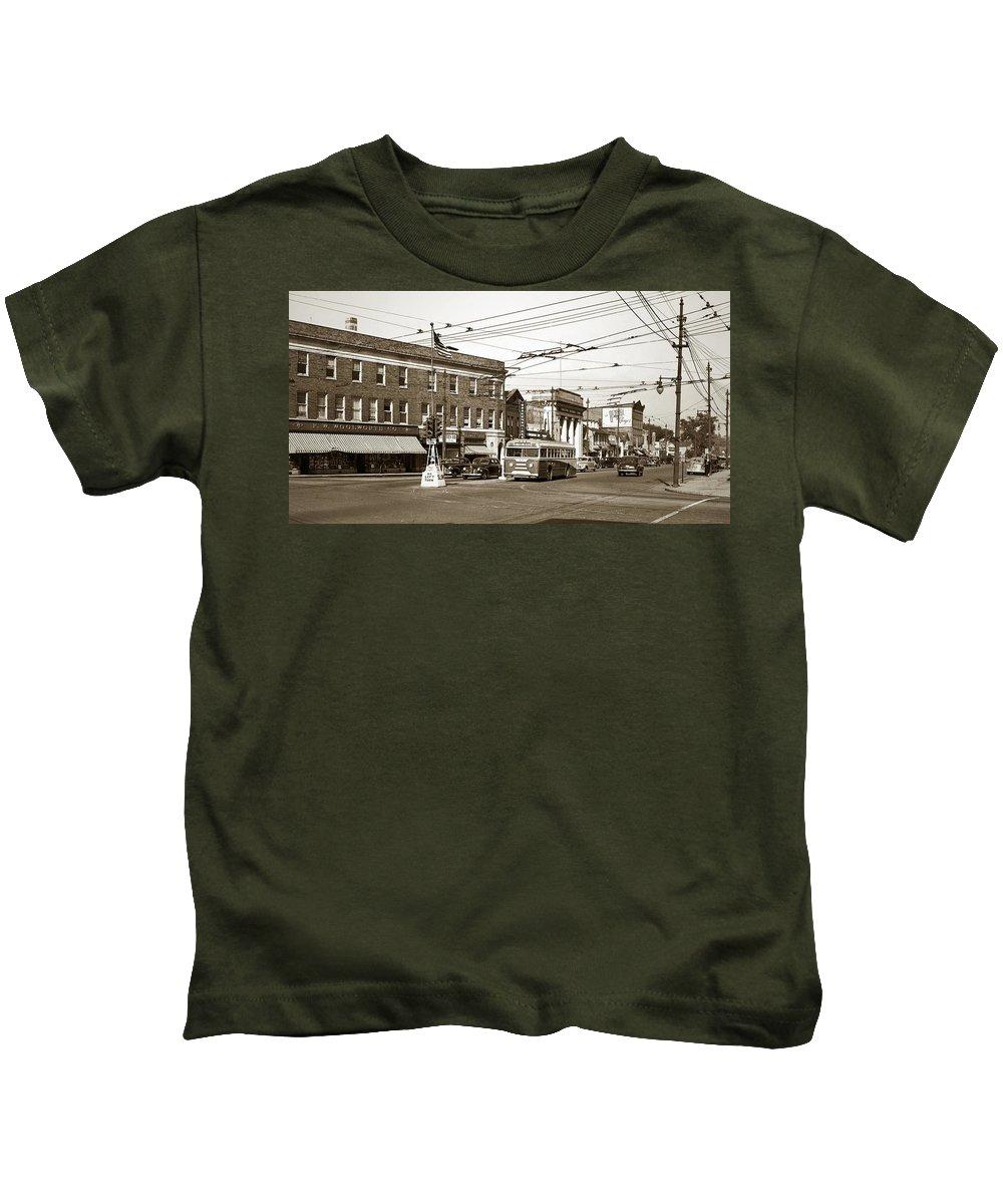 Kingston Corners Kids T-Shirt featuring the photograph Kingston Corners Kingston Pa Early 1950s by Arthur Miller
