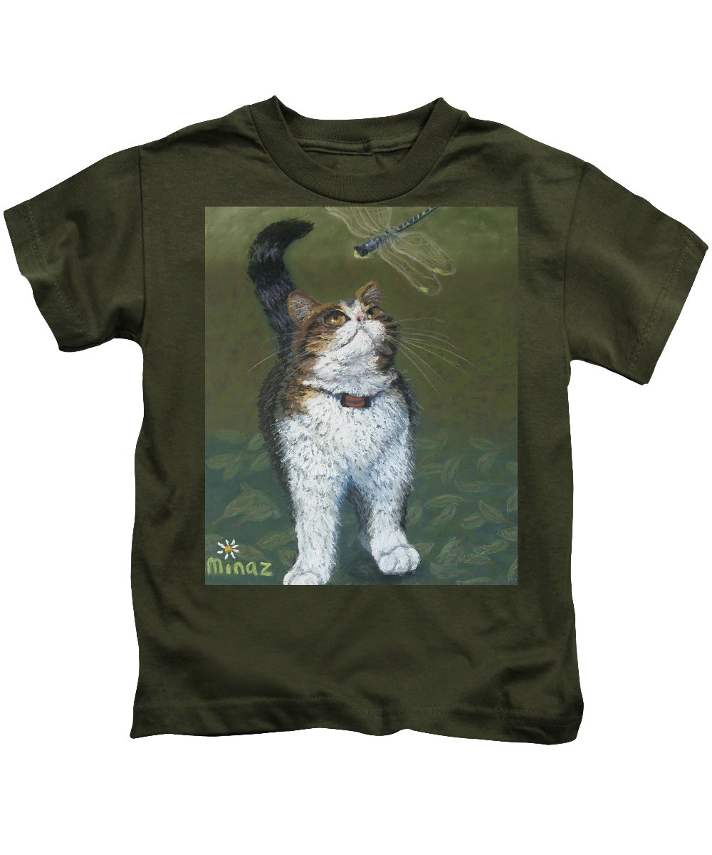 Cat Kids T-Shirt featuring the painting Kitty And Her Dragonfly by Minaz Jantz