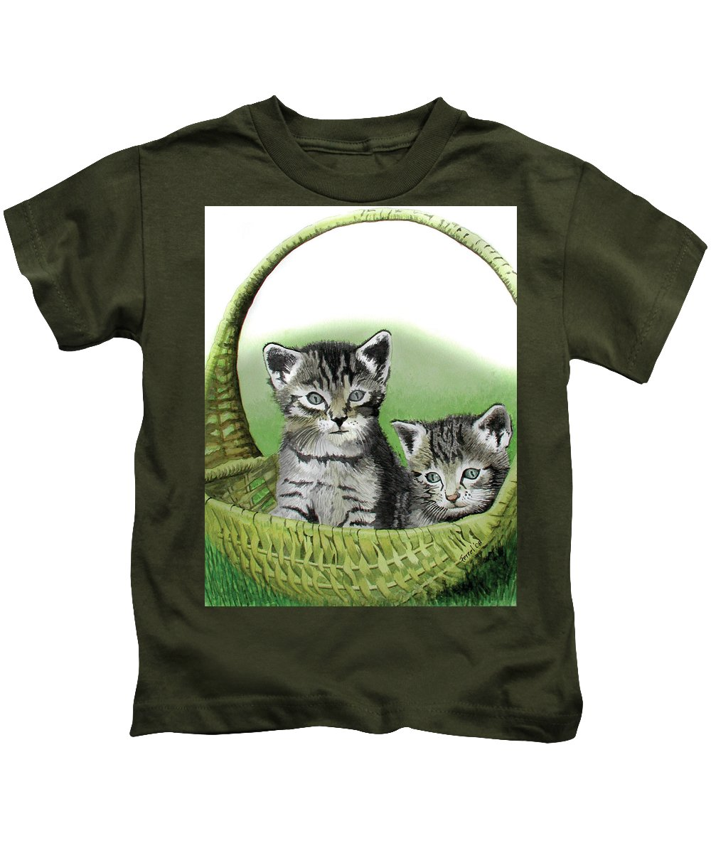 Cat Kids T-Shirt featuring the painting Kitty Caddy by Ferrel Cordle